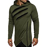 Han Shi Hole Hoodies, Mens Fashion Long Sleeve Business Sweatshirt Tops Casual Outwear
