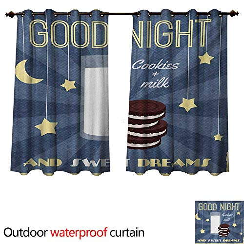 WilliamsDecor Sweet Dreams Outdoor Curtains for Patio Sheer Retro Poster with Chocolate Biscuits and a Glass of Milk Good Night Quote W72 x L72(183cm x 183cm)