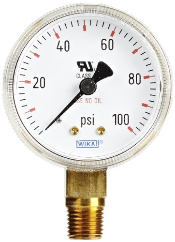 WIKA 8611033 Commercial Pressure Gauge, Dry-Filled, Copper Alloy Wetted Parts, 2