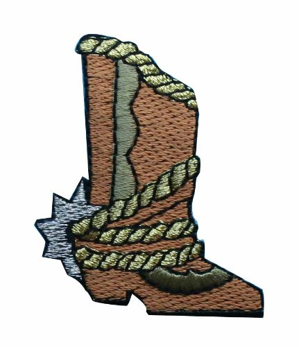 ID #1367 Western Cowboy Boot Embroidered Iron On Applique Patch