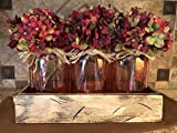 Mason Canning Jar Centerpiece Utensil Holder Kitchen Table 3 Clear Colored Glass QUART Jars in Distressed Wood ANTIQUE WHITE TRAY with handles -Flowers (optional) Amber Yellow, Ruby Red, Sapphire Blue