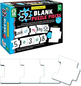 Carson Dellosa Key Education Write-On/Wipe-Off: 52 Blank Puzzle Pieces Manipulative (846039)