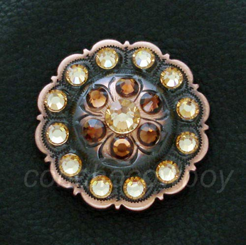 ShopForAllYou Conchos Western Horse Saddle TACK Copper Flower Crystal Rhinestone Concho Screw Back (1