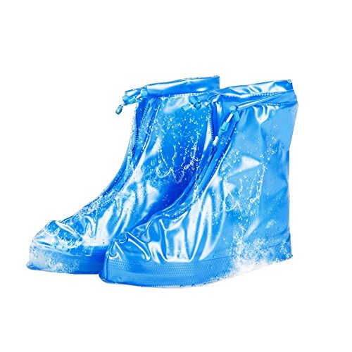 Whose Lemon Women Men Rain Shoes Covers Waterproof Snow Galoshes Overshoes for Travel, Cycling, Gardening, Fishing, Camping, School, Work, Carpet XL Blue