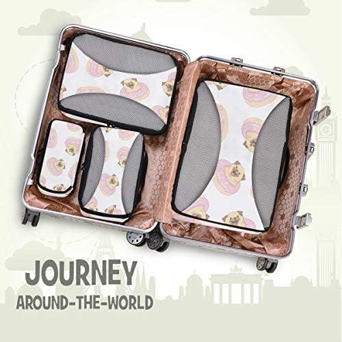 ピンクパグドーナツアート荷物パッキングキューブオーガナイザートイレタリーランドリーストレージバッグポーチパックキューブ4さまざまなサイズセットトラベルキッズレディース