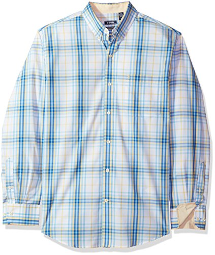 IZOD Men's Essential Plaid Long Sleeve Shirt, Sundress, Medium - Izod Mens Dress Shirts