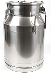 Milk Can 8 Gallon Food Grade Stainless Steel Milk Transport Can Milk Bucket Wine Pail Bucket Milk Can Tote Jug with Sealed Lid for Milk Wine Liquid Storage Container (8 Gallon / 30 Liters)