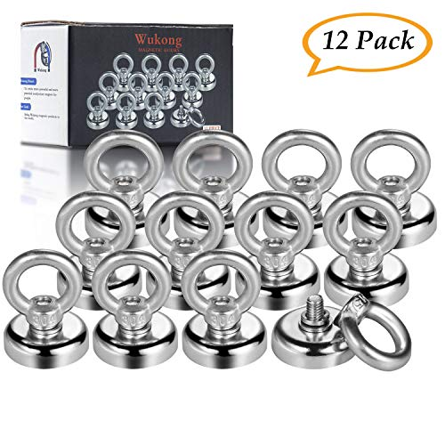 Wukong Magnetic Hooks Super Strong 1 Diameter 40LB Heavy Duty Neodymium Eyebolt Magnet Hook for Organizing Indoor/Outdoor,Kitchen,Workshop,Home, Will Not Scratch (12 Pack)