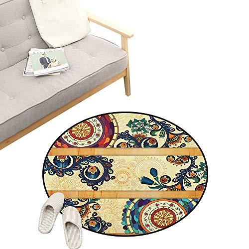 - Batik Modern Flannel Microfiber ,Oriental Vintage Paisley Batik Pattern with Eastern Motifs in Flat Boho Art Design, Round Rug Living Room Bedroom Decor 31