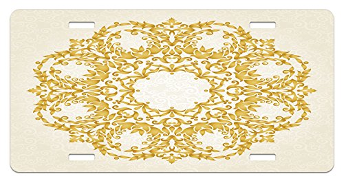 Elements Ottoman (Victorian License Plate by Ambesonne, Traditional Gold Floral Round Circle with Baroque Elements Turkish Ottoman Style Art, High Gloss Aluminum Novelty Plate, 5.88 L X 11.88 W Inches, Cream)