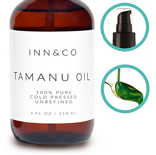Inn&Co Highest Quality Organic Tamanu Oil, 4oz - 100% Pure, Cold Pressed And Unrefined. Best Treatment For Psoriasis, Eczema, Acne Scars, 365 Day Guarantee