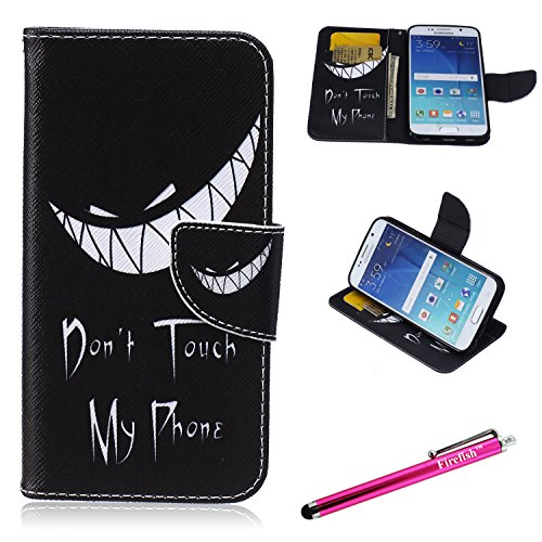 Galaxy S6 Case, Firefish S6 Case [Kickstand] [Leather Wallet] Bumper Lightweight Slim Shock Absorption [Magnetic Closure] for Samsung Galaxy S6 - Wired Smile (Pandora International Charms)