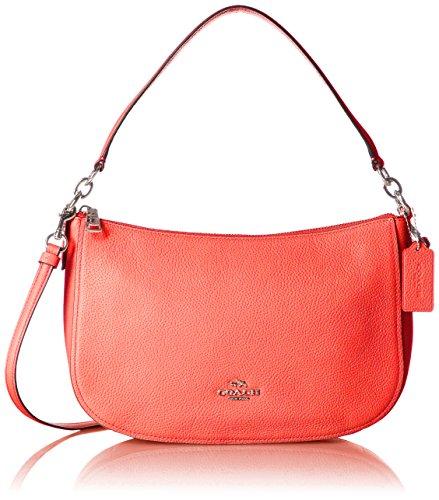 COACH Women's Pebble Chelsea Crossbody LI/Deep Coral Crossbody Bag