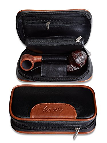 Free Boy Pipe Bag, PU Leather Tobacco Pipe Pouch Smell Proof, for 2 (Tobacco Pouch Black Leather)