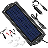 Solar Battery Maintainer, 3.5W 12V Solar Trickle Charger for Car Battery, Portable and Waterproof Solar Battery Charger Car, High Efficiency Solar Panel car battery charger for RV Motorcycle Boat Marine Trailer Tractor PowerSports ATVs Snowmobile