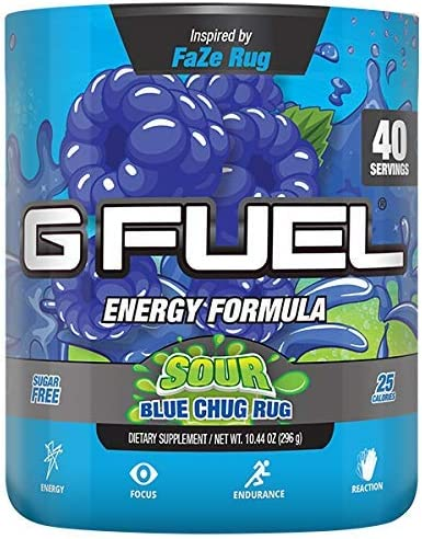 G Fuel Sour Blue Chug Rug Tub 40 Servings Elite Energy and Endurance Formula Inspired by Faze Rug 10.44 oz.