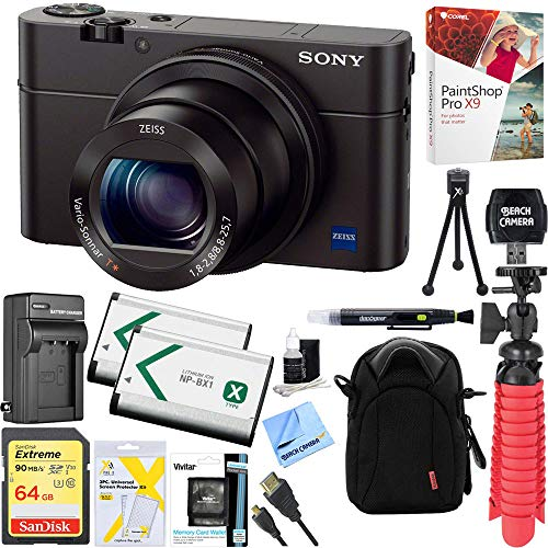 Sony Cyber-Shot DSC-RX100 III 20.2 MP Digital Camera – Black + 64GB SDXC Memory Dual Battery Kit + Accessory Bundle