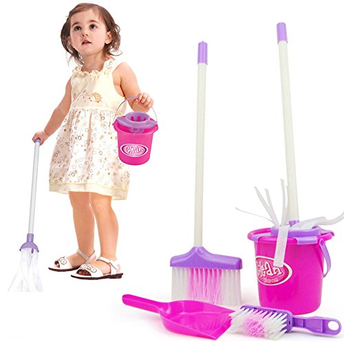 Little Helper ! Kids Cleaning Set for Toddlers,Includes 5 Cleaning Toys Broom & Mop,Brush,Dust Pan,Water Bucket Gift Set - Tower Water Hours Shopping