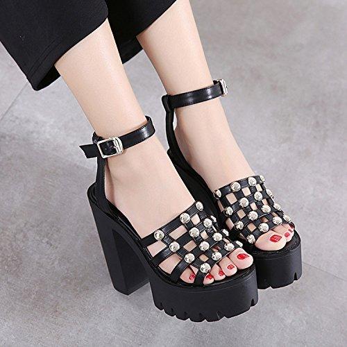 CHNHIRA Sandalias Zapato de Tacón Alto Plano Para Mujer EN Verano (36EU Negro) 4JqlDcuR