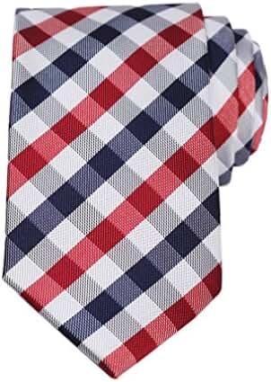 SetSense Men's Plaid Jacquard Woven Slim Skinny Narrow Tie Necktie