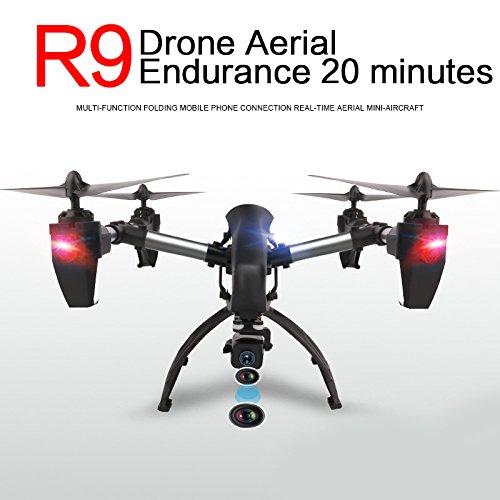 Hanbaili R9 Echtzeit-Übertragungs-Drohne mit FPV 1080P HD WIFI Kamera, 4 Crown High Operating Motoren, Bass gleichzeitig stärkere Flugleistung, RC Quadcopter für Kinder mit Headless-Modus