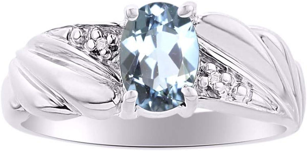 Anillo clásico ovalado de aguamarina y diamante en plata de ley 925 con piedra natal de marzo