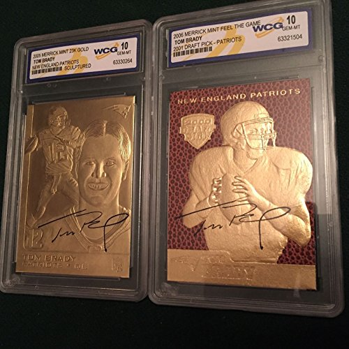(2) TOM BRADY SIGNATURE SERIES 23KT GOLD RETRO ROOKIE CARD LOT! WCG GEM MT 10! - Gold Nfl Signature Football