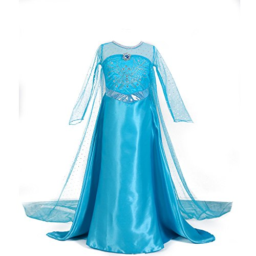 Elsa Cape Luxury Frozen Dress Up Clothes for Little Girls Elsa Snow Queen Anna Princess Costumes Birthday Party Fancy Dress Snow White 3-12 Years Halloween Costume,M -