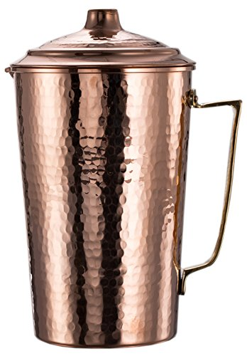 New* CopperBull 2017 Heavy Gauge 1mm Solid Hammered Copper Water Moscow Mule Serving Pitcher Jug with Lid, 2.2-Quart (Hammered Copper)