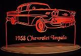 1958 Chevy Impala Acrylic Lighted Edge Lit 13'' LED Sign / Light Up Plaque 58 VVD1 Full Size USA Original