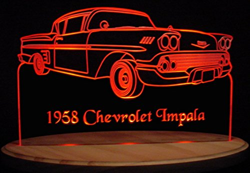 1958 Chevy Impala Acrylic Lighted Edge Lit 13'' LED Sign / Light Up Plaque 58 VVD1 Full Size USA Original by ValleyDesignsND