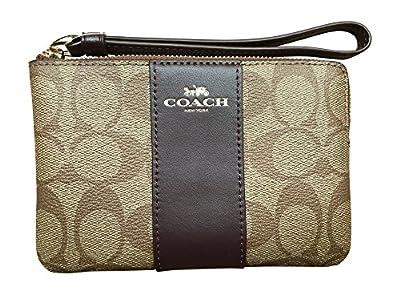 Coach Signature PVC Leather Corner Zip Wristlet - Khaki Oxblood Glitter