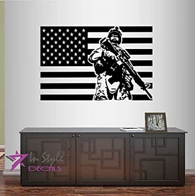 Wall Vinyl Decal Home Decor Art Sticker Flag USA Soldier Military Man Army Weapons Serviceman Fighter Guy Room Removable Stylish Mural Unique Design For Any Room Creative Design Logo House