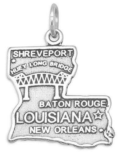 (Oxidized Sterling Silver Charm, State of Louisiana, 3/4 inch)