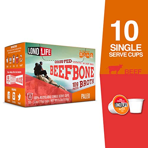 LonoLife Grass-Fed Beef Bone Broth Powder with 10g Protein, Single Serve Cups, 10 Count ()