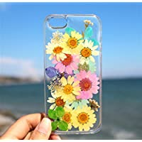 Handmade Real Mix Real Daisies Flowers iPhone 6/6s, iPhone 7 & 8, 7 & 8 Plus, iPhone 10 (X), iPhone SE, iPhone 5/5S Floral Ultra Thin Soft Clear Silicone Rubber Case Cover - Summer Theme