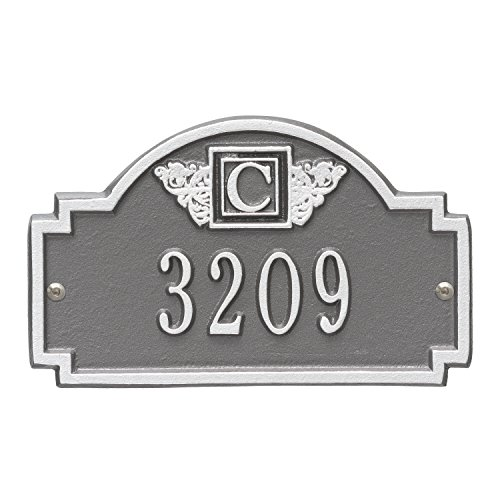 (Whitehall Products Monogram Petite Wall Square Pewter/Silver 1-Line Address Plaque)