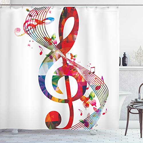 Ambesonne Music Shower Curtain, Artwork with Musical Notes Rhythm Song Ornamental in Vibrant Colors Fantasy Theme, Cloth Fabric Bathroom Decor Set with Hooks, 70 Long, White Red
