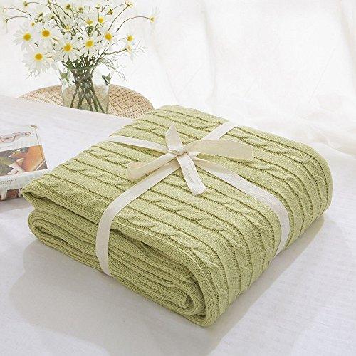 LakeMono Luxury Cozy Handmade Super Soft Crochet Fabric Lovely Sleeping Throw Comfortable Warm Sofa Quilt Living Room Blanket Fit for Adult Teen Resting Reading Apply on All Seasons (Light Green)