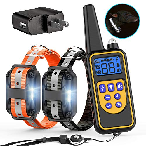 FunniPets Dog Training Collar, 2600ft Range Dog Shock Collar with Remote for Medium and Large Dogs,4 Training Modes Light Beep Vibration Shock, Safe Reflective Collar
