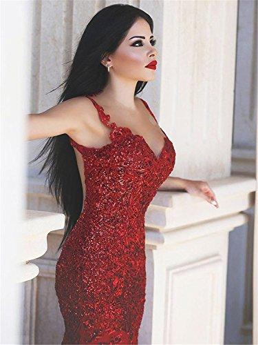 Rot Damen Kleid Rückenfrei - Lydiags