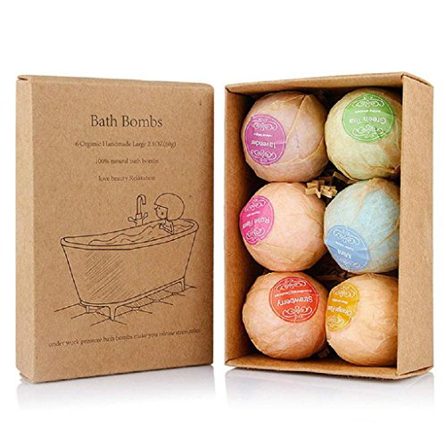 Bath Bombs Gift Set, FirstFly 6PCS Organic Bubble Bath Salts Ball Handmade Spa Bomb Fizzies with Essential Oils for Aromatherapy, Relaxation, Moisturizing (Multicolor) (Set Therapy Bath)