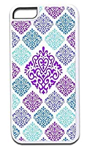 05-Large and Small Damasks-Pattern- Case for the APPLE IPHONE 6 PLUS ONLY!!!-NOT COMPATIBLE WITH THE REGULAR IPHONE 6!!!-Hard White Plastic Outer Case