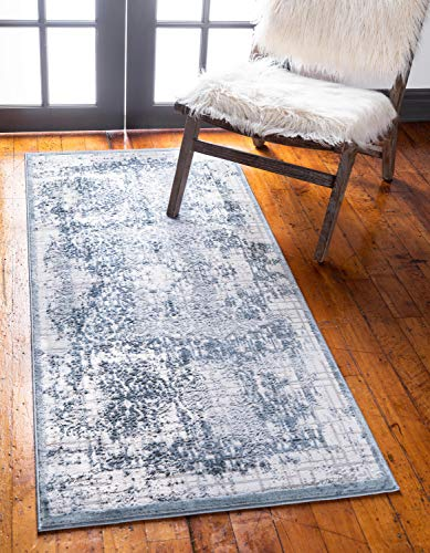 - Unique Loom Aberdeen Collection Textured Traditional Vintage Tone-on-Tone Blue Runner Rug (2' 7 x 6' 0)