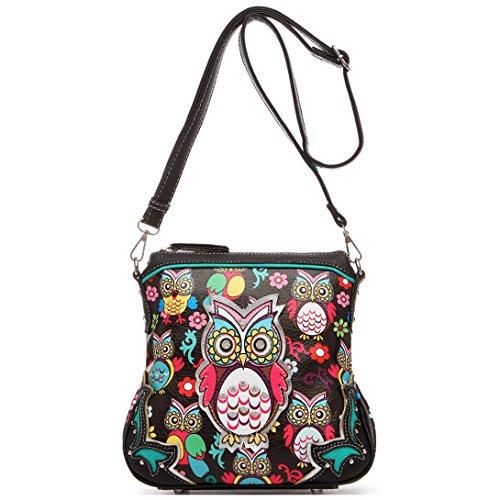 (Colorful Owl Flower Rhinestone Women Purse Cross Body Handbags Fashion Bag with Concealed Carry Pocket (Black))