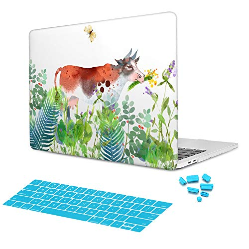 Batianda Garden Flower Grass Grazing Cow Design with Keyboard Skin Hand Painted Watercolors Hard Protective Case Cover for Apple MacBook Air 13 inch Model:A1369/A1466