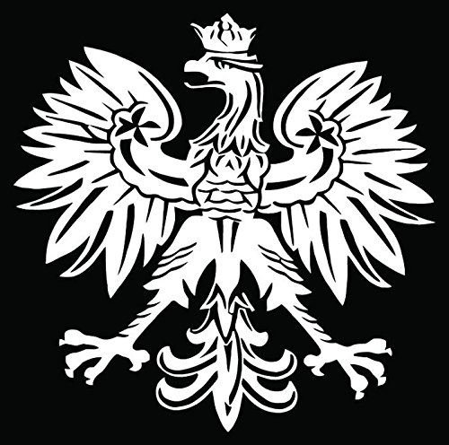 Polish Eagle Emblem Car Truck Window Bumper Vinyl Graphic Decal Sticker- (6 inch) / (15 cm) Tall GLOSS WHITE Color - Polish Eagle Emblem
