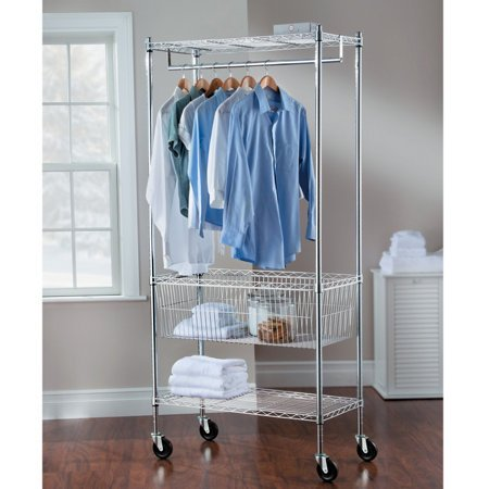 Grey Modern Mobile Steel Laundry Station Contemporary