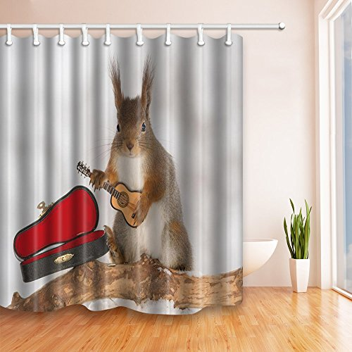 Cute Squirrel and Guitar Shower Curtains Personality Pattern Kids Bathroom Background Decor Waterproof Polyester Fabric Home Bath Decor Blackout Hanging Curtain Set 69 x 70 Inch Includes Hooks