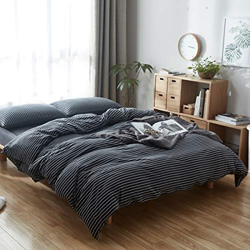 - Uozzi Bedding 100% Knitted Cotton King Duvet Cover Set (1 Jersey Knit Cotton Duvet Cover + 2 Pillow Shams) Ultra Soft Comfy Breathable Natural Material 1200 TC with 4 Corner Ties Black White Stripes